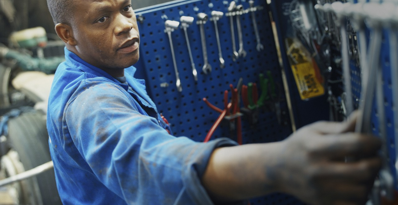 Volvo trucks servicing mechanic wrenches